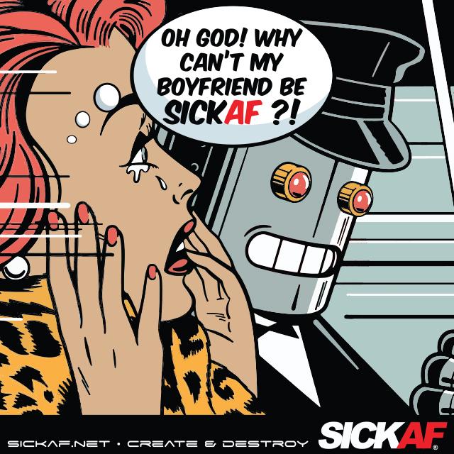 SickAF robot logo and sticker