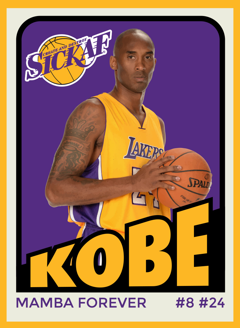 Kobe Bryant Retro Designed Sticker Card